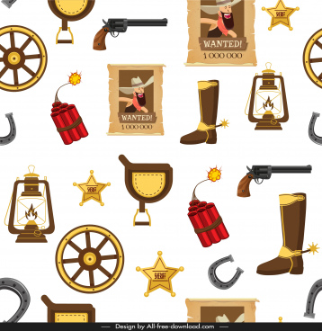 cowboy tale pattern template repeating objects sketch