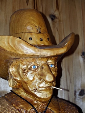 cowboy wood carving face