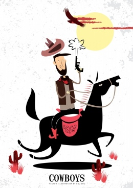 cowboys background funny colored cartoon design