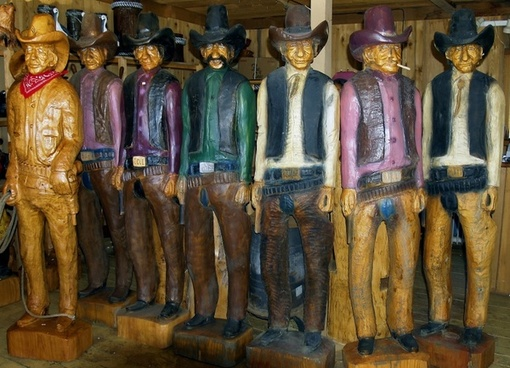 cowboys wood carving artwork
