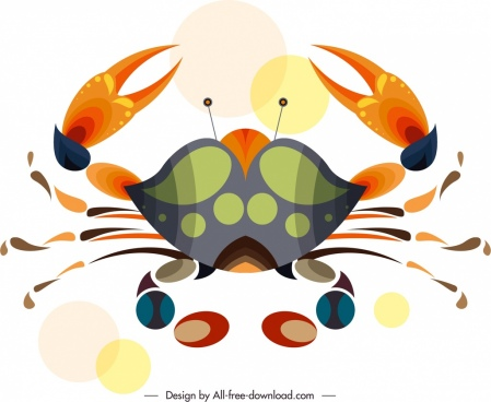 crab animal icon classical colorful flat sketch