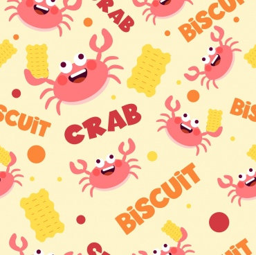 crab biscuit background funny repeating icons decor