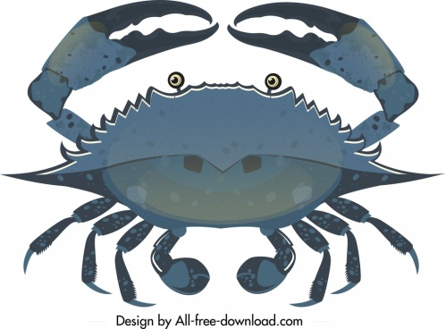 crab icon dark blue design