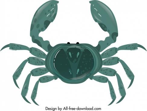 crab icon dark blue modern design