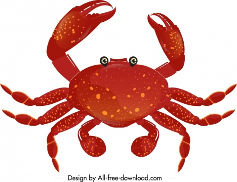 crab icon template modern red design