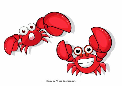 crab icons cute emotion sketch cartoon characters