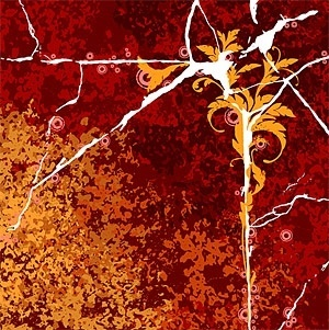 cracks and flowers vector background decadence
