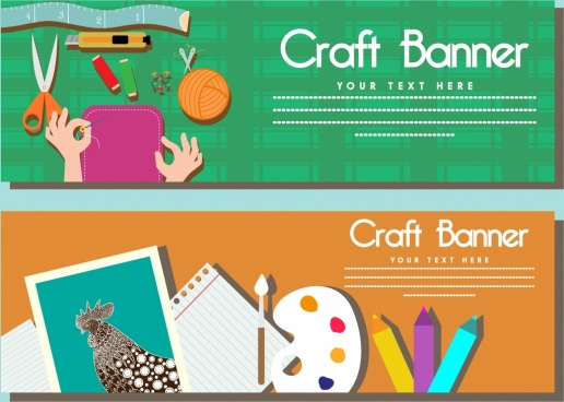 craft banner sets sewing and painting tools symbols