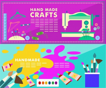crafts banner sets colorful needlework painting symbols elements