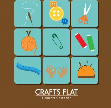 crafts icons collection various types flat colored design