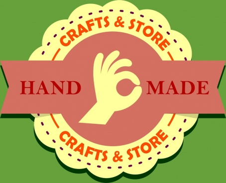 crafts store logo circle and ribbon decoration