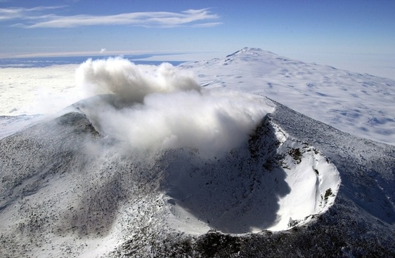 crater mountains aerial view