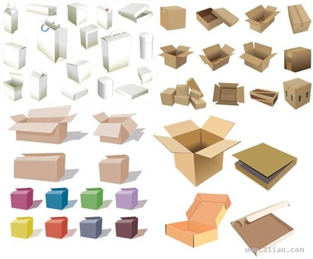 shopping box bags icons modern 3d sketch