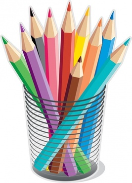 stationery advertising colored pencils icons 3d design