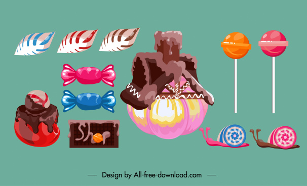 cream cake design elements colored shaped candies sketch