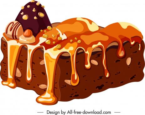 cream cake icon colored classical 3d sketch