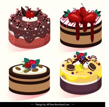 cream cake icons delicious fruity decor