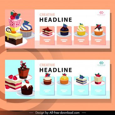 cream cakes banners colorful 3d sketch