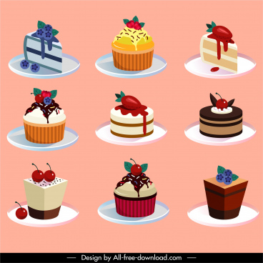 cream cakes icons colorful fruity decor 3d sketch