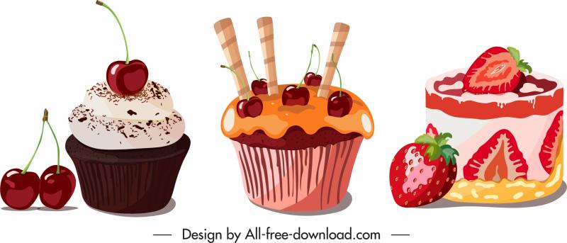 cream cakes icons fruity decor colorful design