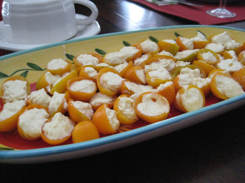 cream cheese and ginger stuffed kumquats