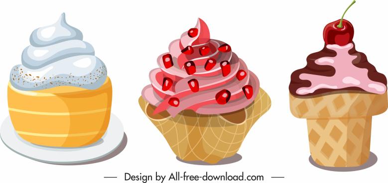 cream dessert icons colorful cupcakes sketch