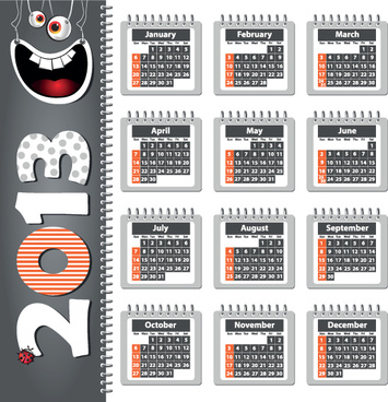 creative13 calendars design elements vector set