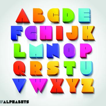 creative 3d colored alphabet design vector