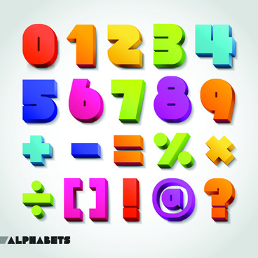 creative 3d colored numbers and symbols vector