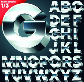 creative 3d letters vector set