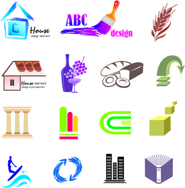 creative 3d logo design vector set