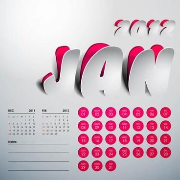 creative arts calendar 2012 calendar vector