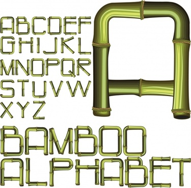 creative arts word bamboo alphabet vector