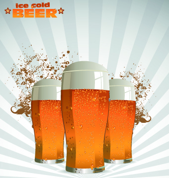 creative beer poster design vector