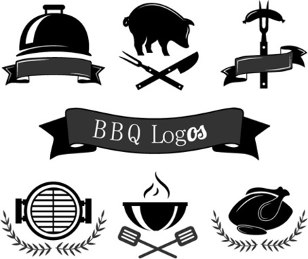 creative black bbq logos vector