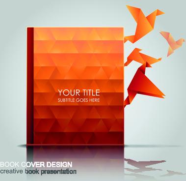creative book with origami birds design vector