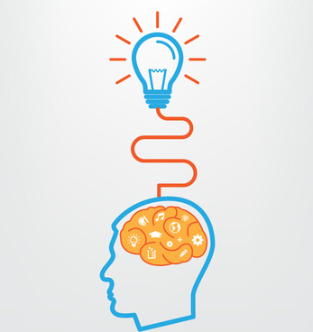 creative brains and lighting vector