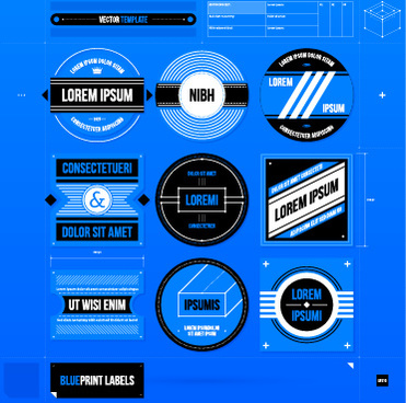 creative business labels design graphic vector