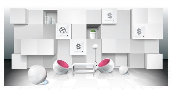 room decorative template bright elegant modern 3d sketch