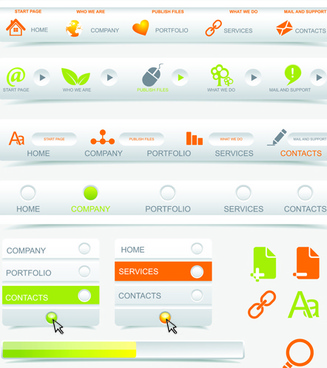 creative buttons and web menus elements vector