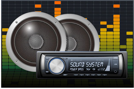 creative car radio with speakers vector