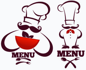 creative chef menu logos vector set