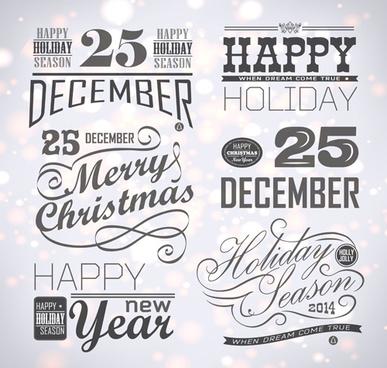 creative christmas calligraphy design vector set