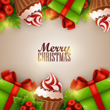 creative christmas sweet with gift cards vector