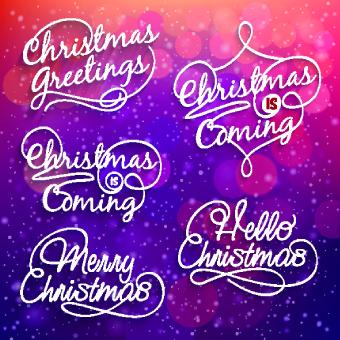 creative christmas text logos vector
