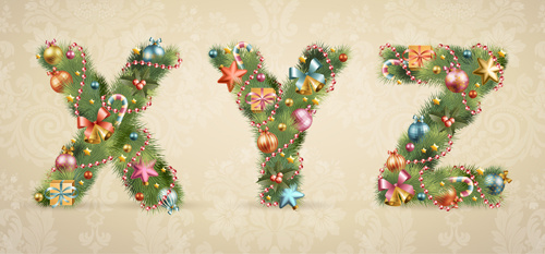 creative christmas tree alphabet and number vector set