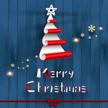creative christmas tree on wood background