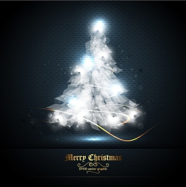 creative christmas tree streamer vector