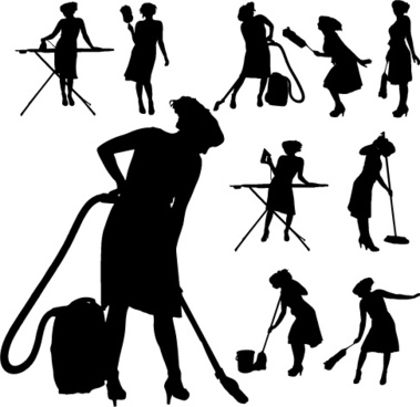 creative cleaning woman silhouette design vector
