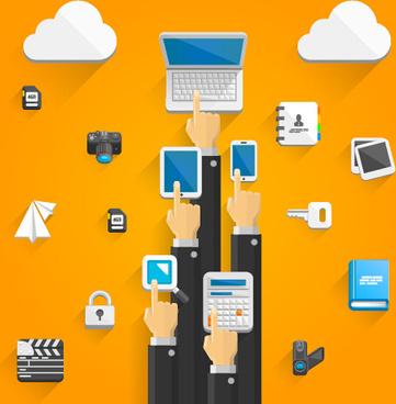 creative cloud digital network vector template